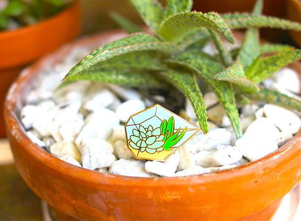 Seconds Sale - Succulent Terrarium Pin - Oh Plesiosaur