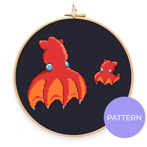 Vampire Squid Cross Stitch Pattern - Oh Plesiosaur