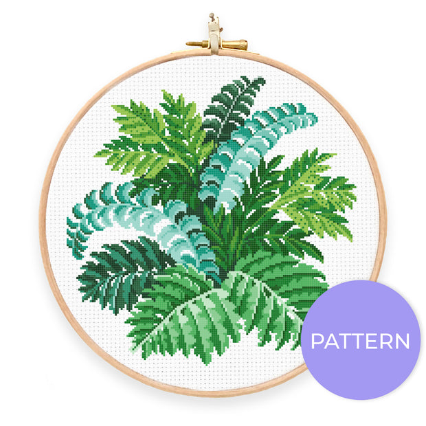 Vintage Ferns Cross Stitch Pattern - Oh Plesiosaur