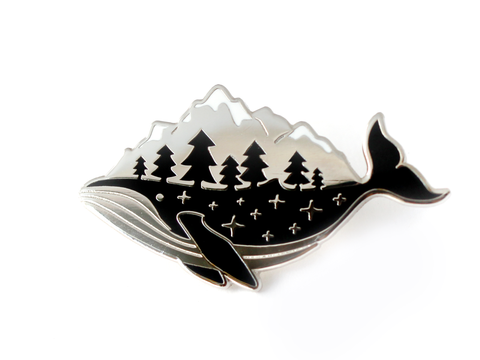 Silver Whale-derness Pin