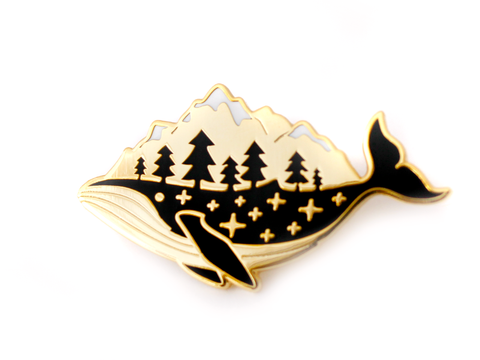Gold Whale-derness Pin