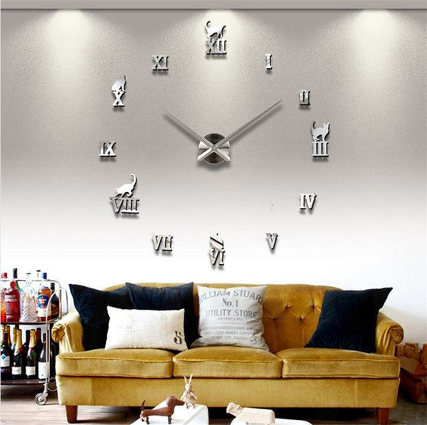 Fashion DIY Large Wall Clock 3D Sticker Rome Numerals Big Watches
