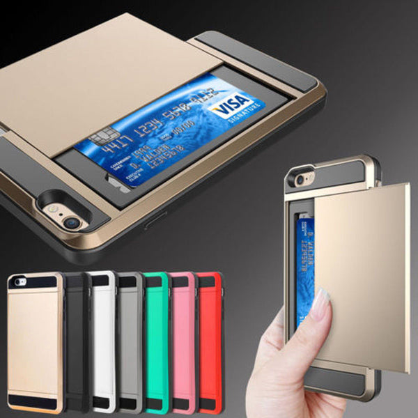 Wallet Credit Card Holder Pocket ShockProof Case iPhone & Samsung Hybrid Cover