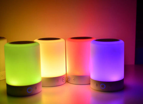 Portable Wireless Bluetooth Mini Speaker Touch LED Table Lamp colorfull light