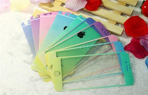 COLOR GLITTER Effect FRONT BACK TEMPER GLASS Screen Protector For IPHONE 6/6plus