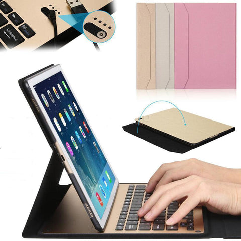 "For iPad Pro 9.7"" Slim Alum Bluetooth Keyboard+PU Leather Stand Case Cover"