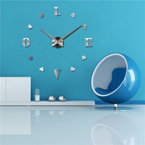 3D DIY Large Wall Clock Home Decor Watches My Heart Love Stickers Hours