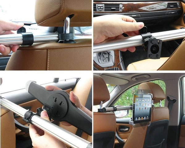 "Car Headrest Holder Mount for iPad,iPad Air,all 7""-11 Tablet/Phone 360 Rotating"