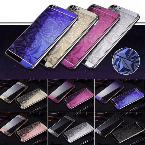 3D Diamond Color Temper Glass Front +Back Screen Protector For iPhone 6 6s plus