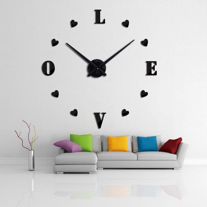 a5fac6796 ... 3D DIY Large Wall Clock Home Decor Watches My Heart Love Stickers Hours