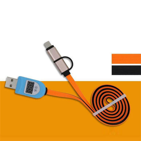 Smart 2in1 USB Charging Data Syn Line Cable LCD Digital Indicator for Huawei CA