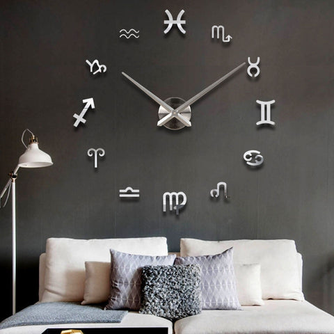 Unique 12 Zodiac Large DIY 3D Wall Clock Home Decor Mirror Sticker Art Watch