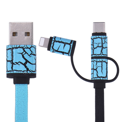 3in1 Type-C Lightning IP5 Micro USB Flat Sync Charging Cable Adapter Charger