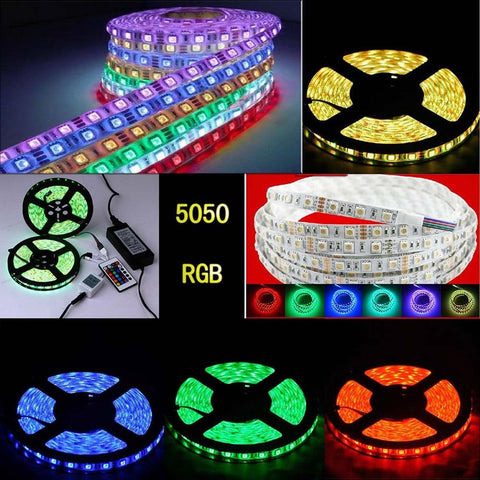 5m RGB 5050 SMD 60LED/M 300LED Light Strip Flexible + IR Remote + Power . Waterproof