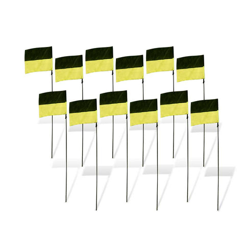 Flag Markers for FPV Drone Racing (set of 12) - Black and Yellow