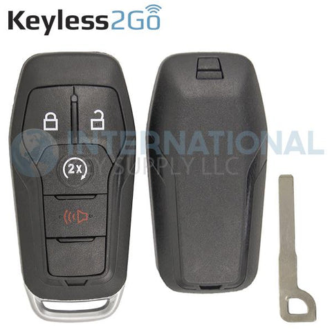 Keyless2Go 4 Button Shell for Ford Smart Proximity Keys M3N-A2C31243300 / 164-R8140