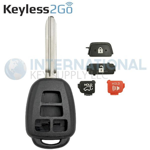 Keyless2Go 4 Button Remote Key Shell With HATCH for Toyota HYQ12BDM GQ4-52T
