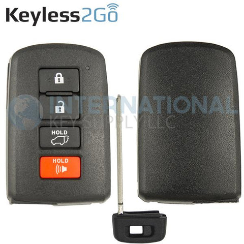 Keyless2Go Replacement 4 Button Remote Shell for Toyota Smart Key HYQ14FBA