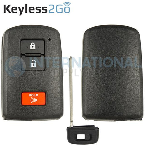 Keyless2Go Replacement 3 Button Remote Shell for Toyota Smart Key HYQ14FBA