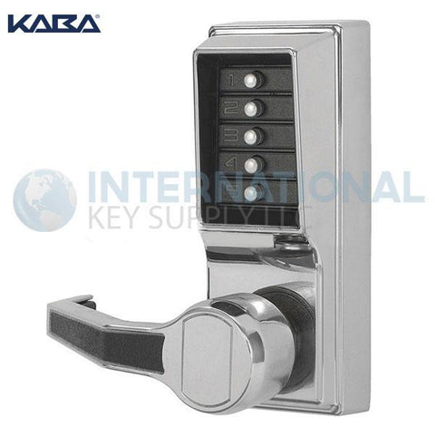 Kaba Access LL1011-026-41 Simplex Pushbutton Lock Cylindrical Lever Lock Bright Chrome - DS