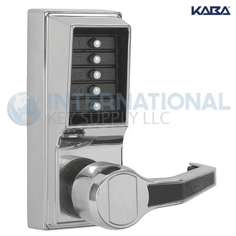 Kaba Access LR1011-026-41 Simplex Pushbutton Lock Cylindrical Lever Lock Bright Chrome - DS
