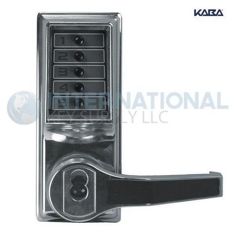 Kaba Access LR1021S-026-41 Pushbutton Lock Cylindrical Lever Lock, Combination Entry Bright Chrome - DS