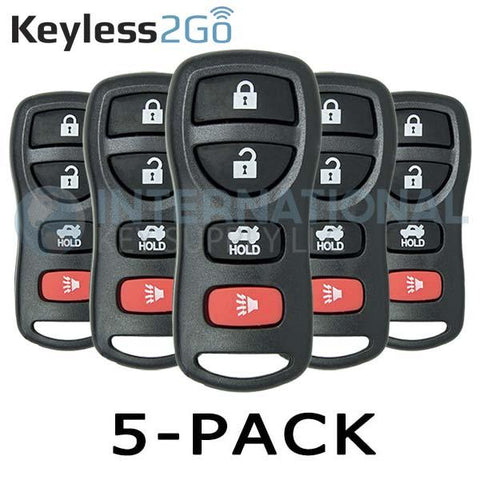 Keyless2Go 4 Button Remote for Nissan KBRASTU15 - 5 PACK