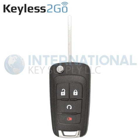 Keyless2Go GM 4 Button Remote Flip Key Replacement for KR55WK500733 13501916