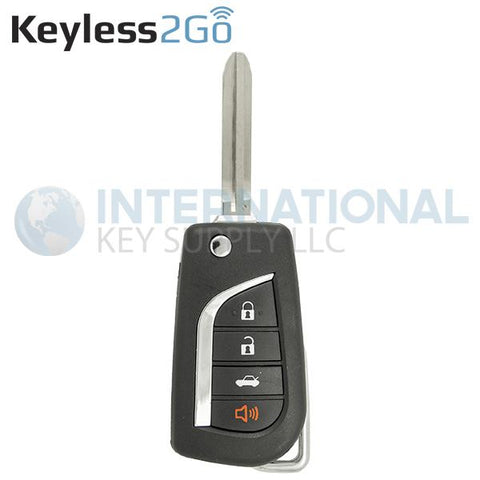 Keyless2Go 4 Button Remote Flip Key For Toyota HYQ12BBY / 89070-06231 / 4D67 Chip