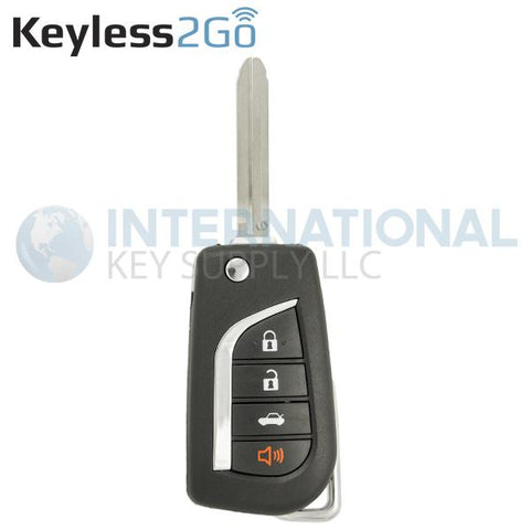 Keyless2Go 4 Button Remote Flip Key For Toyota HYQ12BBY / 89070-06500 / G Chip