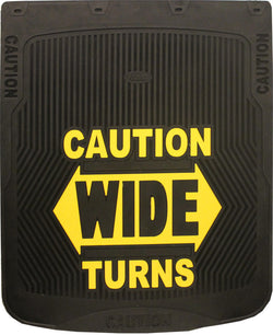 "Caution Wide Turns - Black Background - Mud Flaps 24"" x 30"""