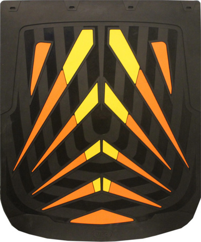 "Arrows Orange - Yellow - Black Background Mud Flap 24"" x 30"""