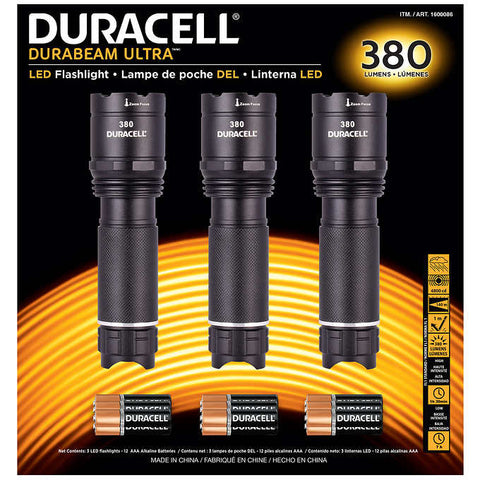 Duracell 380 Lumen LED Flashlight, 3-pack