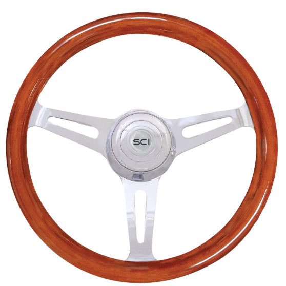 16 Inch Mahogany Dart 3 Spoke steering Wheel