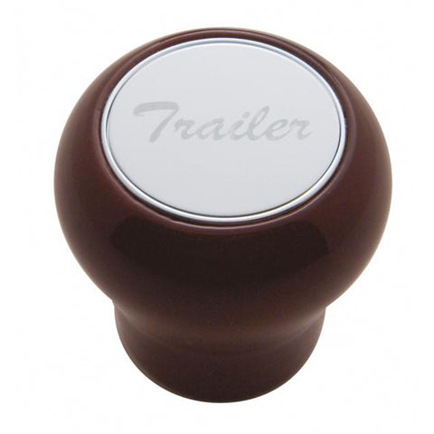 "Wood Air Valve Knob - Stainless Steel ""Trailer"" Plaque"