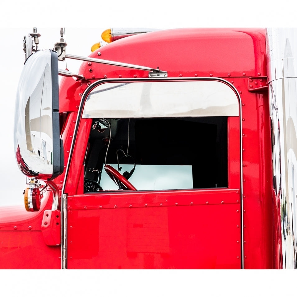 """Pair Stainless Steel 7/"""" Chopped Window Trim for 2005 Peterbilt 379//386//389"""