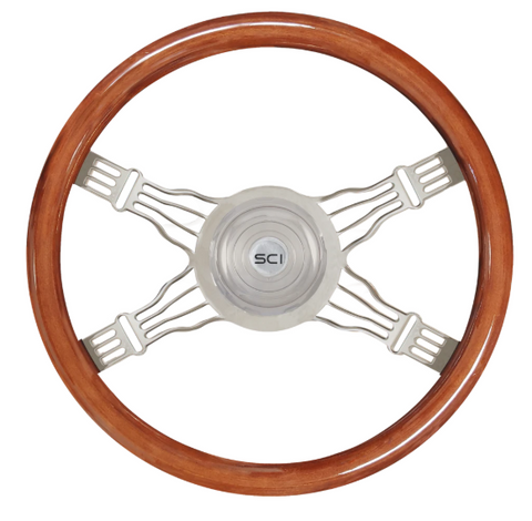 "18"" Mahogany Rim Chrome 4-Spoke with Wire Cut Outs Steering Wheel"