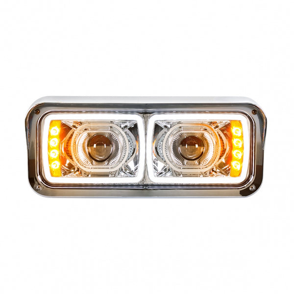 Universal LED Chrome Projection Headlight with LED Turn Signal &  Position Light Bar