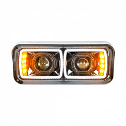Universal LED Black Projection Headlight with LED Turn Signal &  Position Light Bar