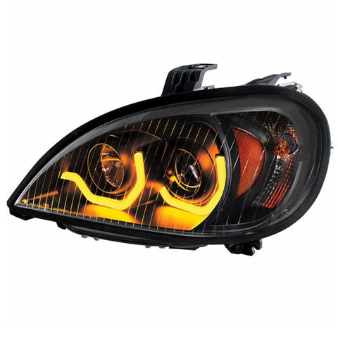 Freightliner Columbia Projection Headlight With Dual Function Amber LED Light Bar