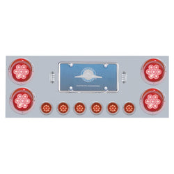 "Stainless Rear Center Panel w/ Four 4"" 7 LED & Six 2"" 9 LED Light & Visor - Red LED/Red Lens"