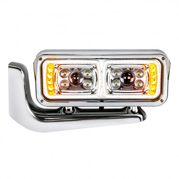 Universal 10 High Power LED Chrome Projection Headlight Assembly With Mounting Arm - Driver Side