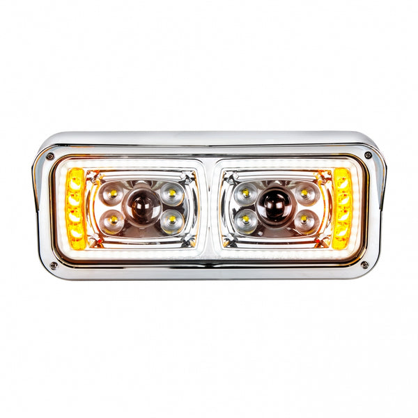 "10 High Power LED ""Chrome"" Projection Headlight with LED Turn Signal & LED Position Light Bar - Driver"