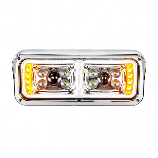 "10 High Power LED ""Chrome"" Projection Headlight with LED Turn Signal & LED Position Light Bar - Passenger"