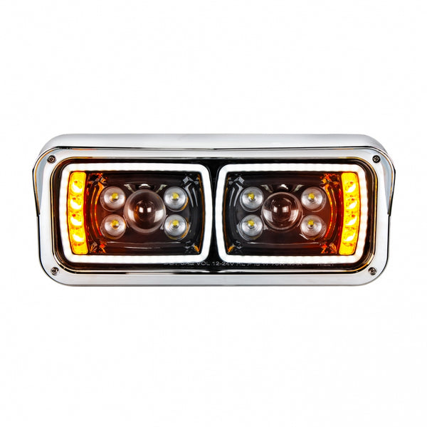 "10 High Power LED ""Blackout"" Projection Headlight with LED Turn Signal & LED Position Light Bar - Driver"