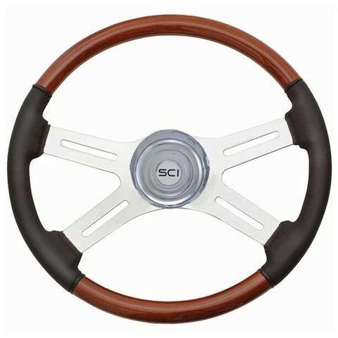 18 Inch Classic Wood & Leather Rim with Chrome 4 Spoke & Bezel