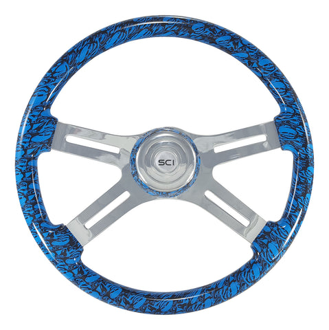 Skulls Blue 18 Inch Printed Wood Rim