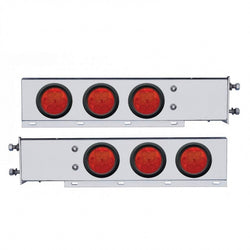 "Stainless Spring Loaded Rear Light Bar w/ Six 4"" 7 LED Light & Grommet - Red LED/Red"