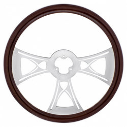 18 Inch Wood Steering Wheel - Hourglass