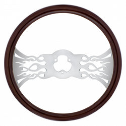 18 Inch Wood Steering Wheel - Inferno